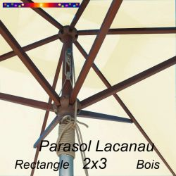 Parasol Lacanau Ecru Crème 2x3 Bois : détail vu de dessous