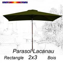Parasol Lacanau Vert Olive 2x3 Bois : vu de face