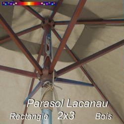 Parasol Lacanau Soie Grège 2x3 Bois : détail vu de dessous