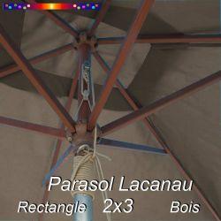 Parasol Lacanau Gris Taupe 2x3 Bois : détail vu de dessous