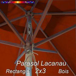 Parasol Lacanau Terracotta 2x3 Bois : détail vu de dessous