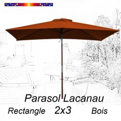 Parasol Lacanau Terracotta 2x3 Bois : vu de face