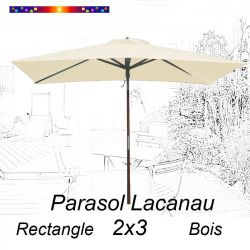 Parasol Lacanau Ecru Crème 2x3 Bois : vu de face