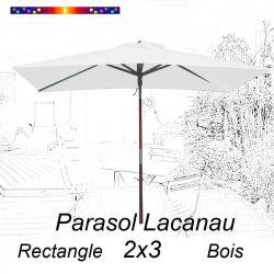 Parasol Lacanau Blanc Jasmin 2x3 Bois : vu de face