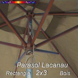 Parasol Lacanau Chamois 2x3 Bois : vu de dessous