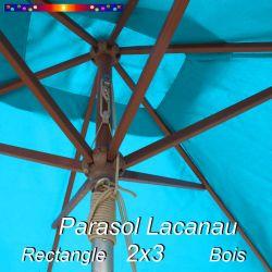 Parasol Lacanau Bleu Turquoise 2x3 Bois : vu de dessous