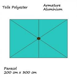 Parasol Lacanau rectangulaire : rectangle 200 x 300 cm Aluminium avec toile couleur  Bleu Turquoise : descriptif