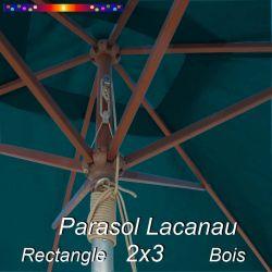 Parasol Lacanau Bleu Ocean 2x3 Bois : vu de dessous