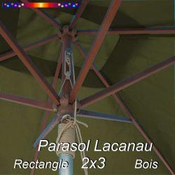 Parasol Lacanau Vert Olive 2x3 Bois : vu de dessous