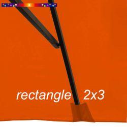 Toile de remplacement pour parasol rectangle 2x3 Orange Capucine : pochon de fixation de la toile