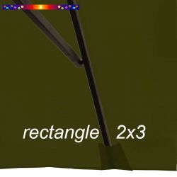 Toile de remplacement pour parasol rectangle 2x3 Vert Olive : pochon de fixation de la toile