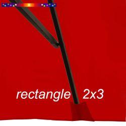 Toile de remplacement pour parasol rectangle 2x3 Rouge Coquelicot : pochon de fixation de la toile