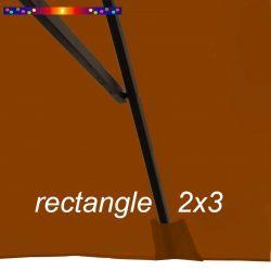 Toile de remplacement pour parasol rectangle 2x3 Rouge Terracotta : pochon de fixation de la toile