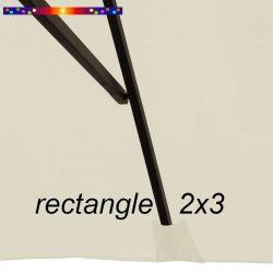 Toile de remplacement pour parasol rectangle 2x3 Crème : pochon de fixation de la toile