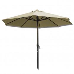 Parasol Lacanau rond (octogonal) Diamètre 300 cm en Aluminium à manœuvre par manivelle toile Sable Grège : parasol vu de face