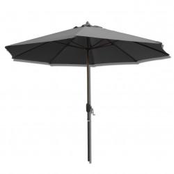 Parasol Lacanau rond (octogonal) Diamètre 300 cm en Aluminium à manœuvre par manivelle toile Gris Souris : parasol vu de face