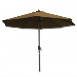 Parasol Lacanau rond (octogonal) Diamètre 300 cm en Aluminium à manœuvre par manivelle toile Gris Taupe : parasol vu de face