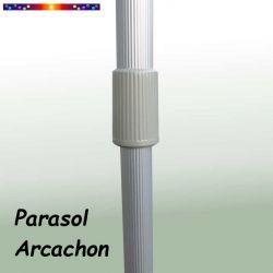 Parasol Arcachon Mocca 250 cm Alu : détail du mât et du système de réglage de sa hauteur