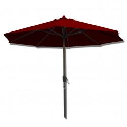 Parasol Lacanau rond (octogonal) Diamètre 300 cm en Aluminium à manœuvre par manivelle toile Rouge Bordeaux: parasol vu de face