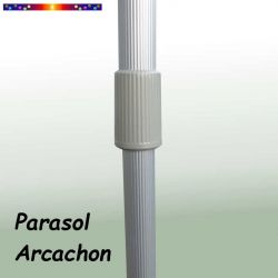 Parasol Arcachon Vert Pinède 200 x 250 cm : détail du mât et du système de réglage de sa hauteur