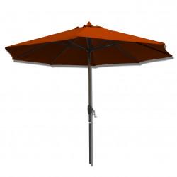 Parasol Lacanau rond (octogonal) Diamètre 300 cm en Aluminium à manœuvre manivelle toile Rouge Terracotta : parasol vu de face