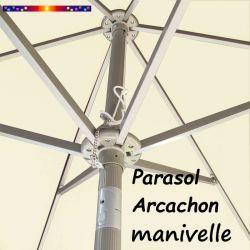Parasol Arcachon Ecru 300 cm Alu Manivelle : détail de l'armature et de l'inclinaison