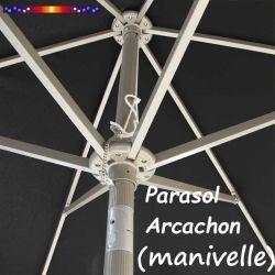 Parasol Arcachon Gris Anthracite 300 cm Alu Manivelle : détail de l'armature et de l'inclinaison