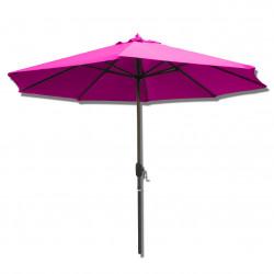 Parasol Lacanau rond (octogonal) Diamètre 300 cm en Aluminium à manœuvre par manivelle toile Rose Fushia : parasol vu de face