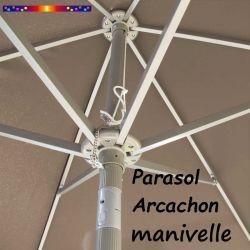 Parasol Arcachon Taupe 300 cm Alu Manivelle : détail de l'armature et de l'inclinaison