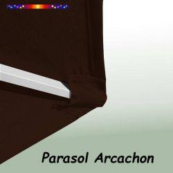 Parasol Arcachon Mocca 300 cm Alu Manivelle : détail de la toile et du pochon de fixation en bout de baleine