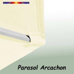 Parasol Arcachon Ecru 300 cm Alu Manivelle : détail de la toile et du pochon de fixation en bout de baleine