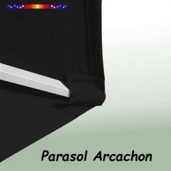 Parasol Arcachon Gris Anthracite 300 cm Alu Manivelle : détail de la toile et du pochon de fixation en bout de baleine