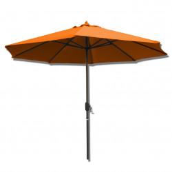 Parasol Lacanau rond (octogonal) Diamètre 300 cm en Aluminium à manœuvre par manivelle toile Orange : parasol vu de face