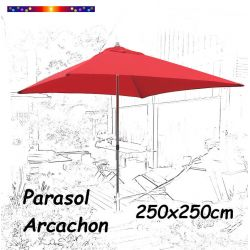 Parasol Arcachon Rouge 250x250cm (Alu)  : vu de face