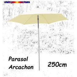 Parasol Arcachon Ecru 250 cm Alu : vu de face