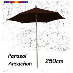 Parasol Arcachon Mocca 250 cm Alu : vu de face
