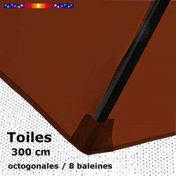 Toile OCTOGONALE (8cotés) 300 cm Rouge Terracotta (mât central) : fourreau coté bas de la baleine