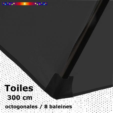 Toile OCTOGONALE (8cotés) 300 cm Gris Souris (mât central)