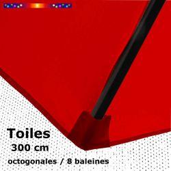 Toile OCTOGONALE (8cotés) 300 cm Rouge Coquelicot (mât central)
