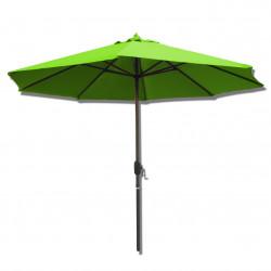 Parasol Lacanau rond (octogonal) Diamètre 300 cm en Aluminium à manœuvre par manivelle toile Vert Lime : parasol vu de face
