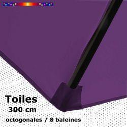 Toile OCTOGONALE (8cotés) 300 cm Violette  (mât central) : fourreau coté bas de la baleine