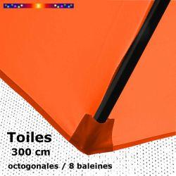 Toile OCTOGONALE (8cotés) 300 cm Orange Capucine (mât central) : fourreau coté bas de la baleine