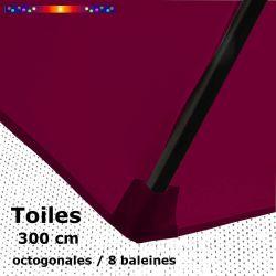 Toile OCTOGONALE (8cotés) 300 cm Rouge Bordeaux (mât central) : fourreau coté bas de la baleine