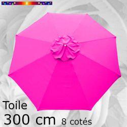 Toile OCTOGONALE (8cotés) 300 cm Rose Fushia (mât central)