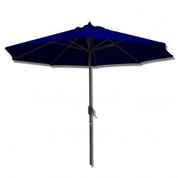 Parasol Lacanau rond (octogonal) Diamètre 300 cm en Aluminium à manœuvre par manivelle toile Bleu Marine : parasol vu de face