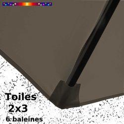 Parasol Lacanau Gris Taupe 2x3 Bois : détail de la toile