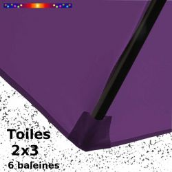 Parasol Lacanau Violette 2x3 Bois : détail de la toile