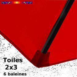 Parasol Lacanau Rouge Coquelicot 2x3 Bois : détail du fourreau de fixation de la toile sur la baleine