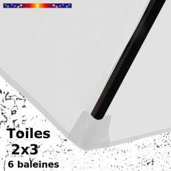 Parasol Lacanau Blanc Jasmin 2x3 Bois : détail du fourreau de fixation de la toile sur la baleine