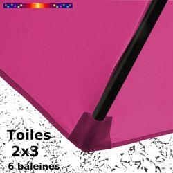 Toile Rose Fushia pour parasol Lacanau rectangle 2x3 : détail du fourreau de fixation de la toile sur la baleine